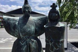 Takasago happy couple figures greet visitors