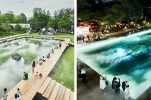 The Digital Art Garden of Light and Fog transforms from day to night
