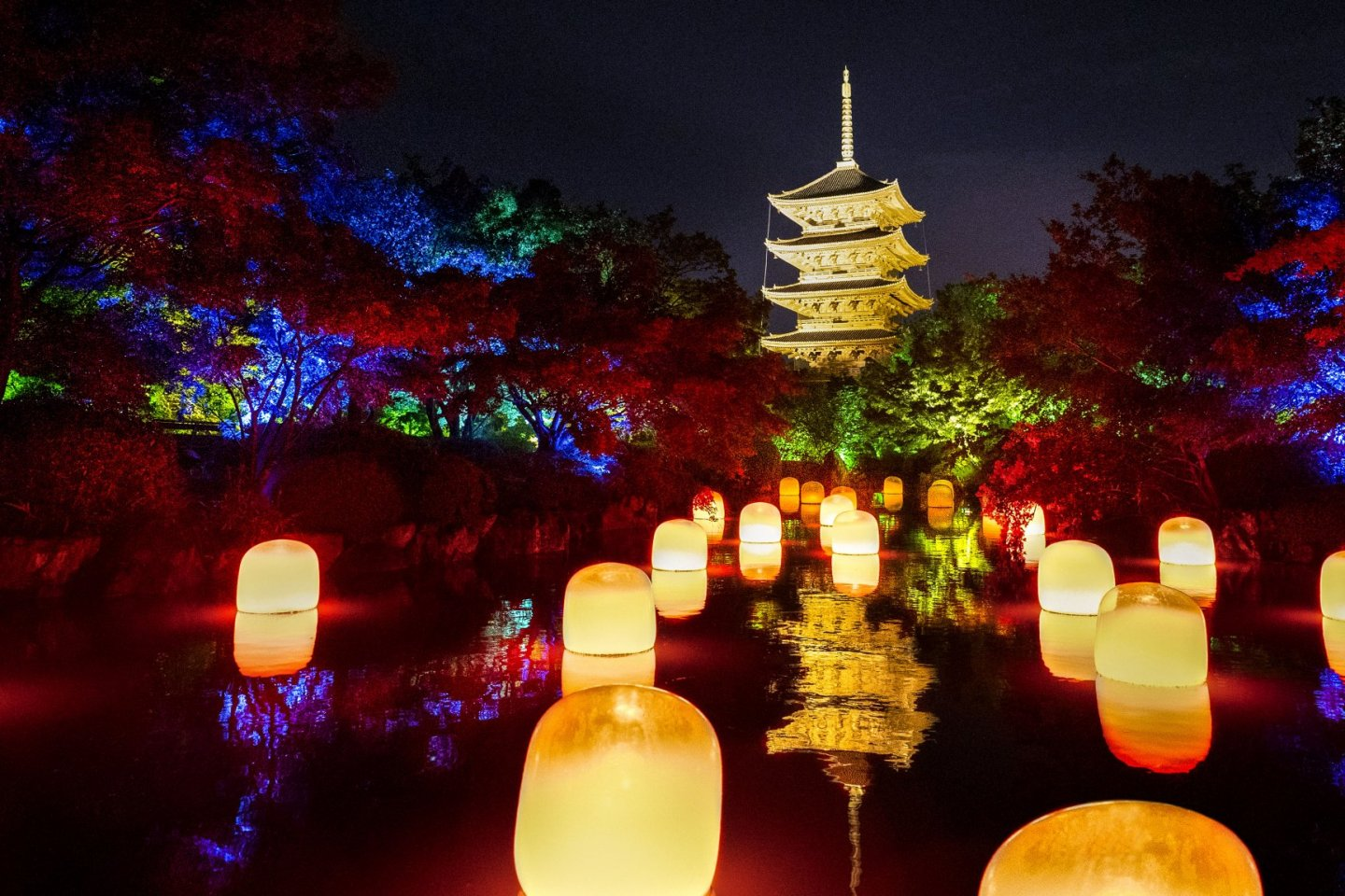 Lights and lanterns fill the grounds of Toji Temple for this event