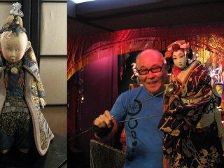 Jusaburo Tsujimura demonstrating his puppet