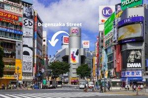 Dogenzaka Street is to the left hand side of Shibuya 109