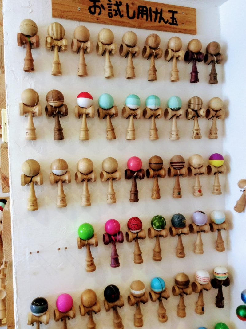 Rows of Su Lab kendama for playing with