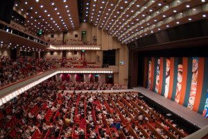 Inside the theater during the One Piece super kabuki performance