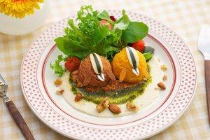 Mashed potato and salad dish
