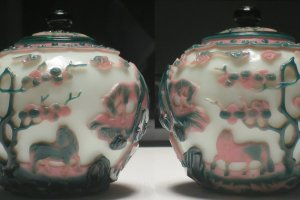 Lidded glass jars from the Qing Dynasty on display at the museum