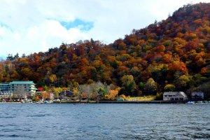 Lake Chuzenji surrounded by autumn color