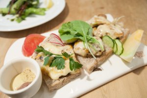 Grilled Chicken & Gruyère Cheese Tartine with Mushrooms, Arugula, and 3 Mustards