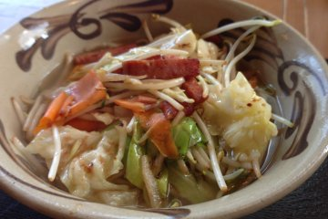 <p>Okinawan Soba with stir-fired vegetables and Spam</p>