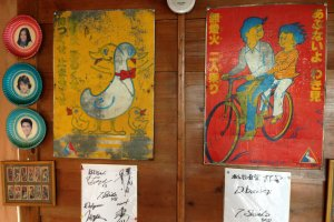 Vintage Japanese safety posters warn youngsters to look both ways and to not ride doubles on a bicycle