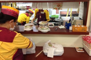 <p>There&#39;s usually only one employee in the front of the store; food preparation takes place in the busy kitchen behind the sales counter</p>