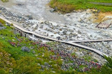 The dry riverbed of the Sanzu River near the Sessho-seki Rock