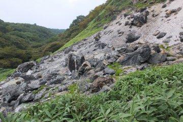 The Sessho-seki Rock is near Nasu-Yumoto Hot Springs