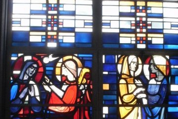 Stained glass windows tell Bible stories