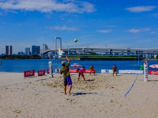 Beach volleyball is one of the main activities that take place along the beach