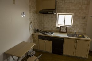 The second floor dorms also has its own kitchenette at Tomato Hostel Osaka
