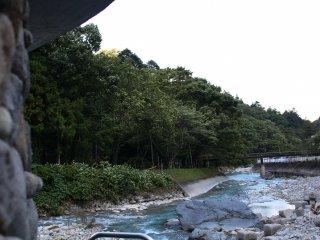 A panoramic view of the Shima river from Kawara no Yu
