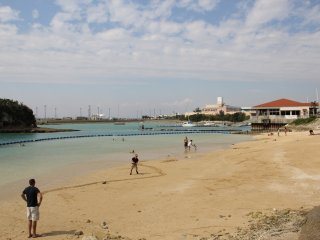 The beach is popular with Americans and Kadena Town locals alike