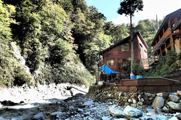 Riverside onsen conveniently located about 2 hours walk in