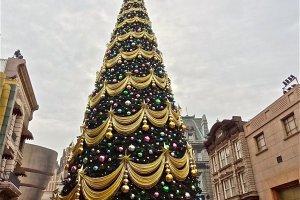 クリスマスシーズンのユニバーサル・スタジオ・ジャパンに飾られた巨大なクリスマスツリー
