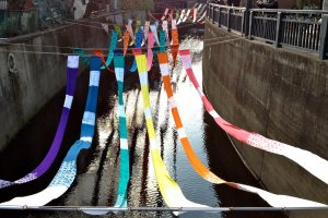 Kimono rainbow seen from a bridge crossing the Miyosoji River