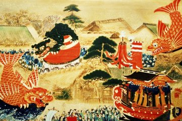 Traditional painting of Karatsu Kunchi Festival procession