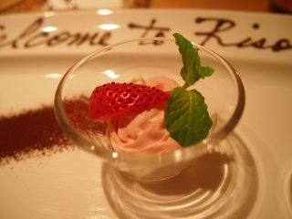 My favourite dessert on the dinner menu, a sweet, delicious strawberry mousse.