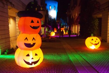 The street that is lit up for Halloween. Spooky and cute at the same time!