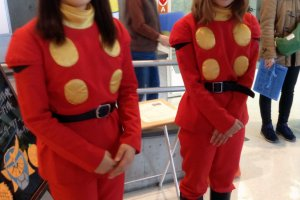 Staff are decked out in superhero outfits, right out of Ishinomori's comic Cyborg009!