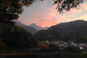View of Kurodake from Sounkyo Gorge at sunset