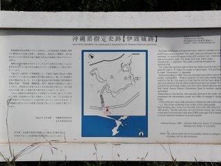 Một tấm biển lớn tại khu di tích mô tả lại tòa thành vào thời huy hoàng nhất của nó và mô tả ngắn gọn những khám phá khảo cổ trong khu vực