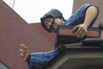 <p>This figure on a roof is not part of the tour, but an example of the interesting things you can see along the way.</p>