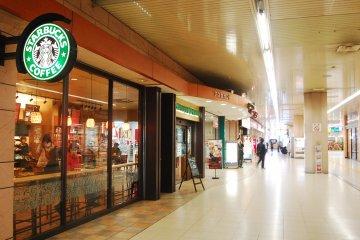 Cafe and foodhall in Kumagaya station