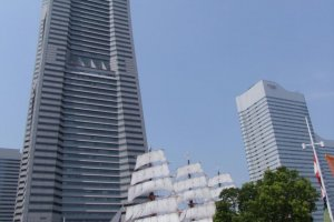 The Nippon Maru docked in front of the Landmark Tower