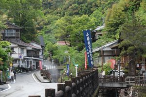 Yunomine onsen is surrounded by lush green mountains
