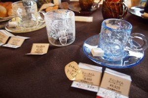 These glass cups are made from a special glass that splinters beautifully within.