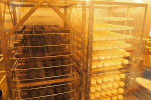 On the first floor, you can look at the production line of Camembert Cheese.