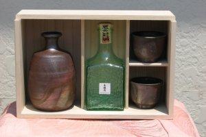 Bizen Yake and Sake Set