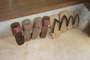 Geta (Japanese wooden sandal) outside a house