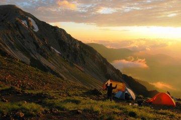 Camping in Nagano Prefecture Japan, between Mt Shirouma and Mt Karamatsu.
