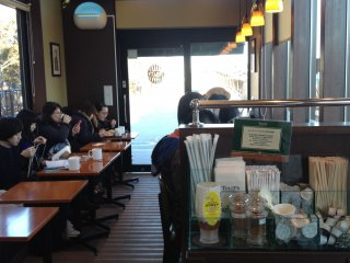 Snap of the Tully's Coffee shop from the inside. Around 6 seats are available on the window side facing TokyoSkytree, but theyare mostly occupied. You may have to wait for your turn.