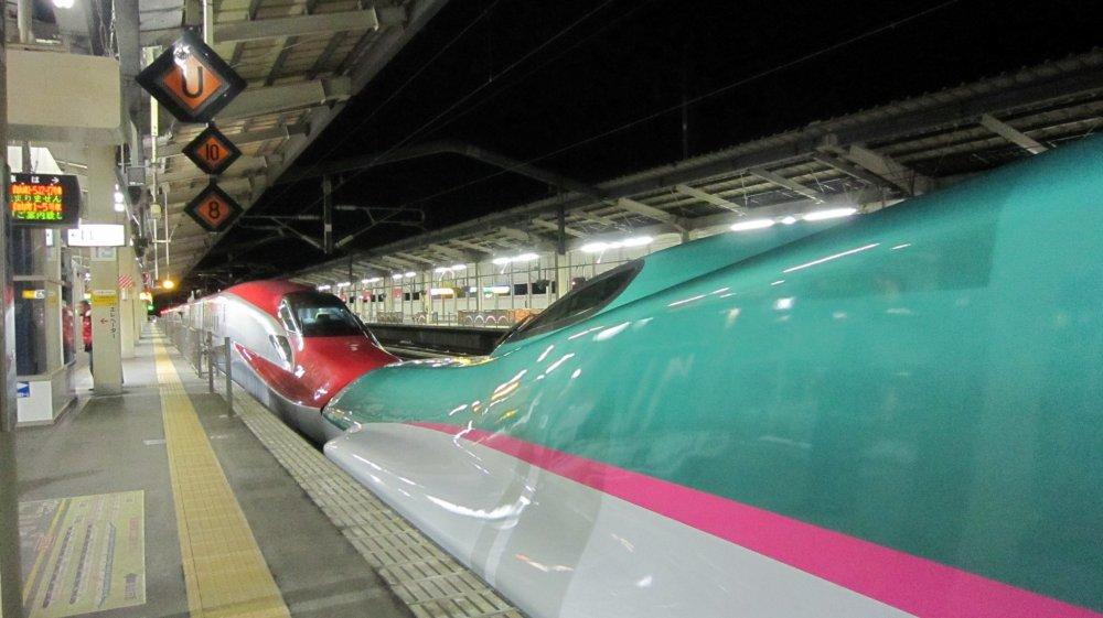 JR福島駅停車中の仙台行き「やまびこ」。赤、緑、ピンクのカラーと流線型フォームが美しい