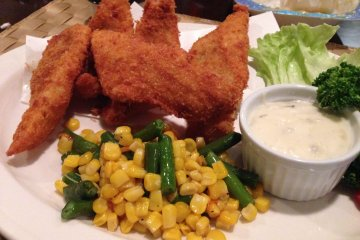 <p>The fried Alaskan pollack with tartar sauce and vegetables; all entrees include tea or coffee</p>