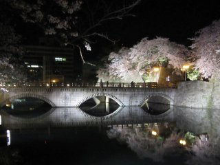 The reflection of the main bridge and the cherry trees on the water surface