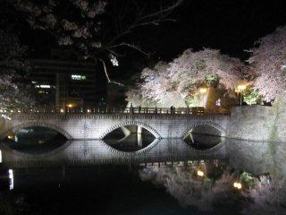 水面に映る御本城橋と桜