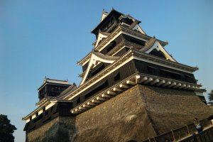 Looking up at Kumamoto Castle. How masculine!