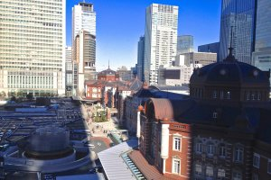 View of Tokyo Station from KITTE Garden on the top floor of the KITTE Marunouchi Building
