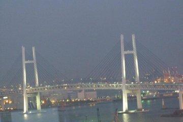 View from the room of the lovely Yokohama Bay Bridge.