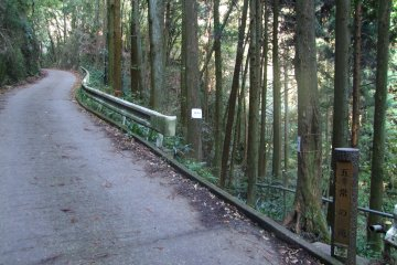 <p>A break in the guardrail marks the spot to head off the paved path.</p>