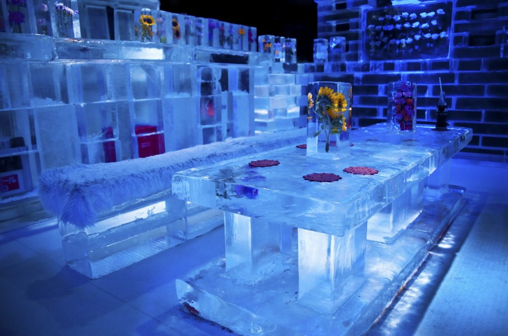 First things first. You should put on a thermo coat and gloves that you can find over the entrance. Now you are ready to experience the Ice Bar. Please, come in!