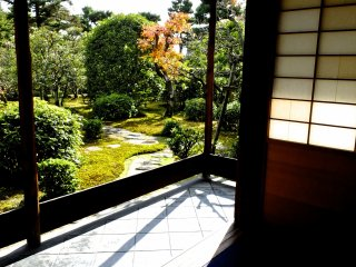 畳部屋から庭園を眺める